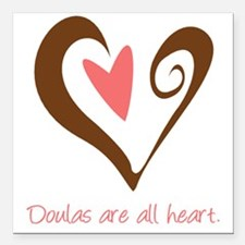 "DoulaHeartBrown450.PNG Square Car Magnet 3"" x 3"""