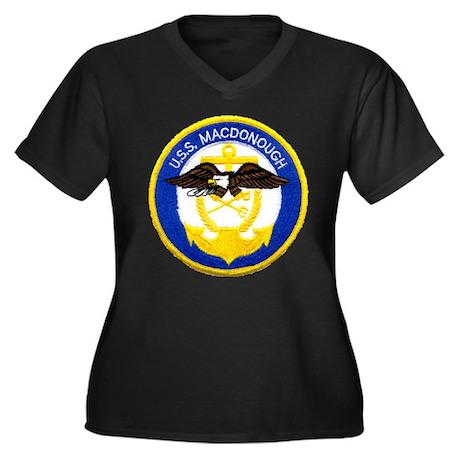 USS MACDONOU Women's Plus Size V-Neck Dark T-Shirt
