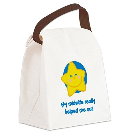 MidwifeHelpBlue.png Canvas Lunch Bag