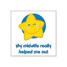 "MidwifeHelpBlue.png Square Sticker 3"" x 3"""