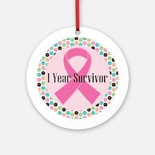 1 Year Breast Cancer Survivor Ornament (Round)