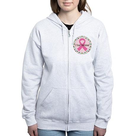 1 Year Breast Cancer Survivor Women's Zip Hoodie
