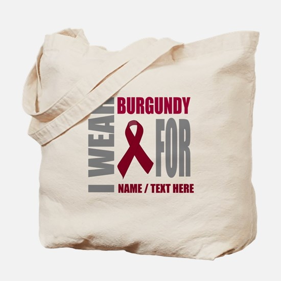 Burgundy Awareness Ribbon Customized Tote Bag