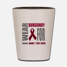 Burgundy Awareness Ribbon Customized Shot Glass