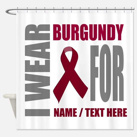 Burgundy Awareness Ribbon Customize Shower Curtain
