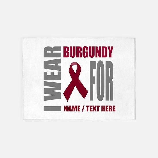 Burgundy Awareness Ribbon Customize 5'x7'Area Rug