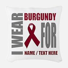 Burgundy Awareness Ribbon Cust Woven Throw Pillow