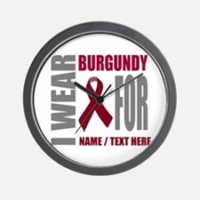 Burgundy Awareness Ribbon Customized Wall Clock
