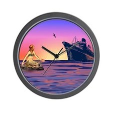 Mermaid at Sunset Wall Clock