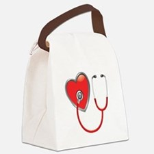 Heart with Stethoscope Canvas Lunch Bag