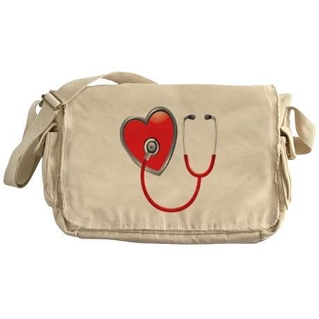 Heart with Stethoscope Messenger Bag