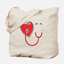 Heart with Stethoscope Tote Bag