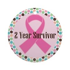 2 Year Breast Cancer Survivor Ornament (Round)