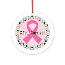 2 Year Breast Cancer Survivor Ornament (Round)