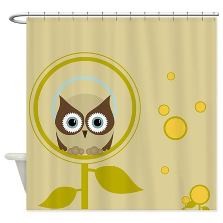 Owl in the Flowers Shower Curtain