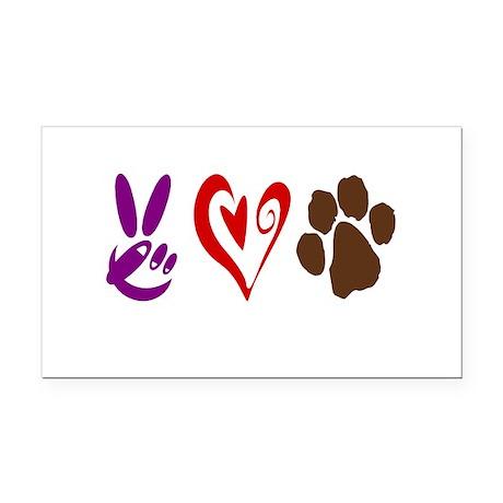 Peace, Love, Pets Symbols Rectangle Car Magnet
