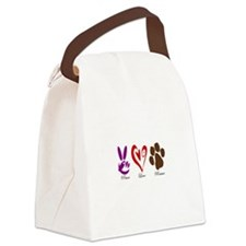 Peace, Love, Rescue Canvas Lunch Bag