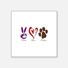 """Peace, Love, Rescue Square Sticker 3"""" x 3"""""""