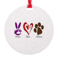 Peace, Love, Rescue Ornament