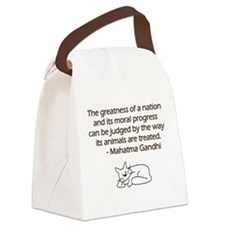 Gandhi Cat Quote Canvas Lunch Bag