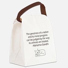 Gandhi Cat Quote Canvas Lunch Bag