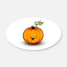 Smiley Pumpkin Oval Car Magnet