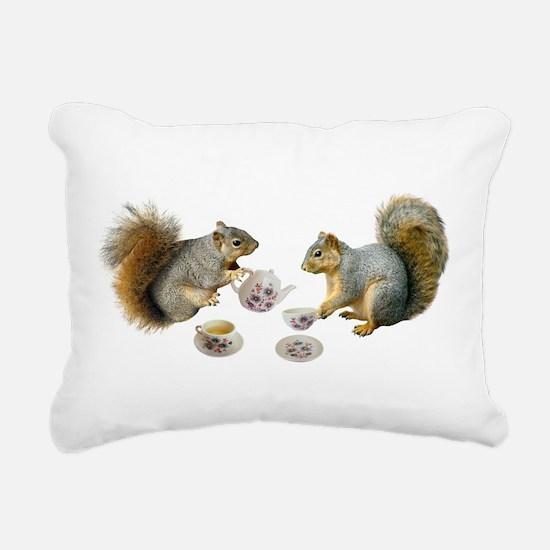 Squirrels Tea Party Rectangular Canvas Pillow
