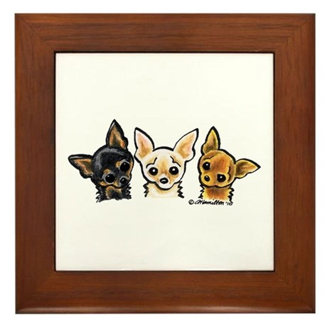 3 Smooth Chihuaha Framed Tile