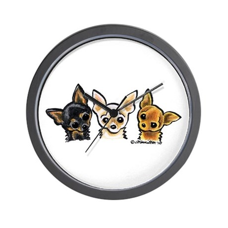 3 Smooth Chihuaha Wall Clock