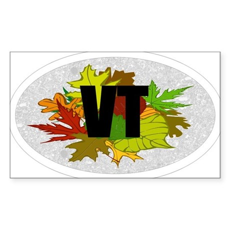 Vermont VT Fall Foliage Leaves Oval Sticker