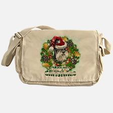 Merry Christmas Min Schnauzer.png Messenger Bag