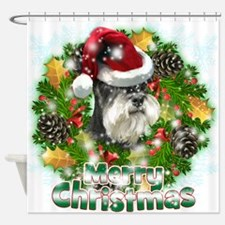 Merry Christmas Min Schnauzer.png Shower Curtain
