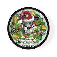 Merry Christmas Min Schnauzer.png Wall Clock