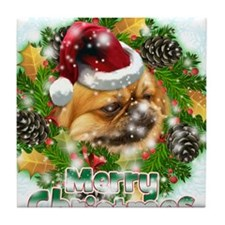 Merry Christmas Pekingnese.png Tile Coaster