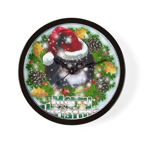 Merry Christmas Pekingnese Black.png Wall Clock