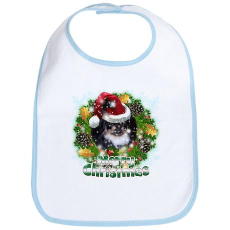 Merry Christmas Pekingnese Black.png Bib