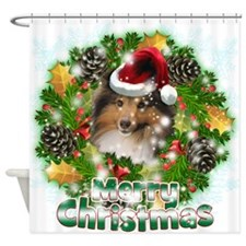 Merry Christmas Sheltie.png Shower Curtain