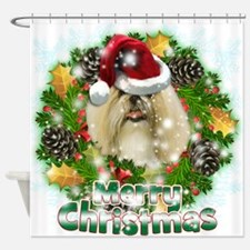 Merry Christmas Shih Tzu.png Shower Curtain