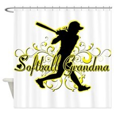 Softball Grandma (silhouette).png Shower Curtain