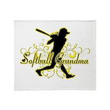 Softball Grandma (silhouette).png Throw Blanket