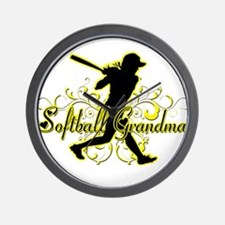 Softball Grandma (silhouette).png Wall Clock