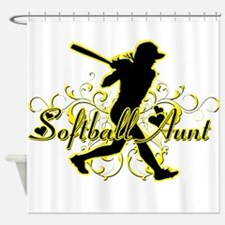 Softball Aunt (silhouette).png Shower Curtain