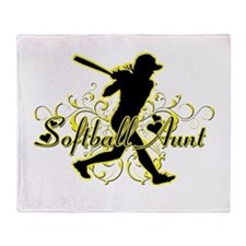 Softball Aunt (silhouette).png Throw Blanket