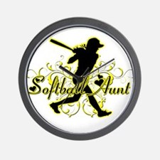 Softball Aunt (silhouette).png Wall Clock