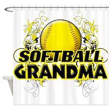 Softball Grandma (cross).png Shower Curtain