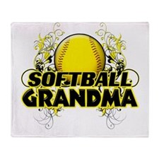 Softball Grandma (cross).png Throw Blanket