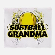 Softball Grandma (cross).png Throw Blanket