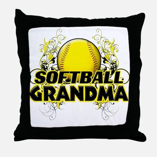 Softball Grandma (cross).png Throw Pillow