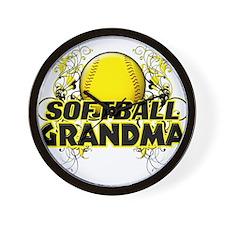 Softball Grandma (cross).png Wall Clock