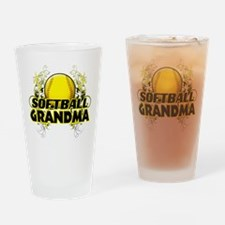 Softball Grandma (cross).png Drinking Glass